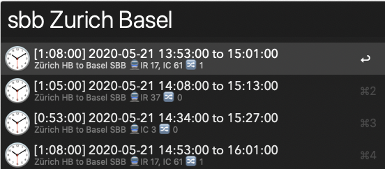Listing connections from Zurich to Basel.