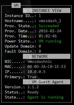 Image of ASCii VMSS Dashboard VM Details