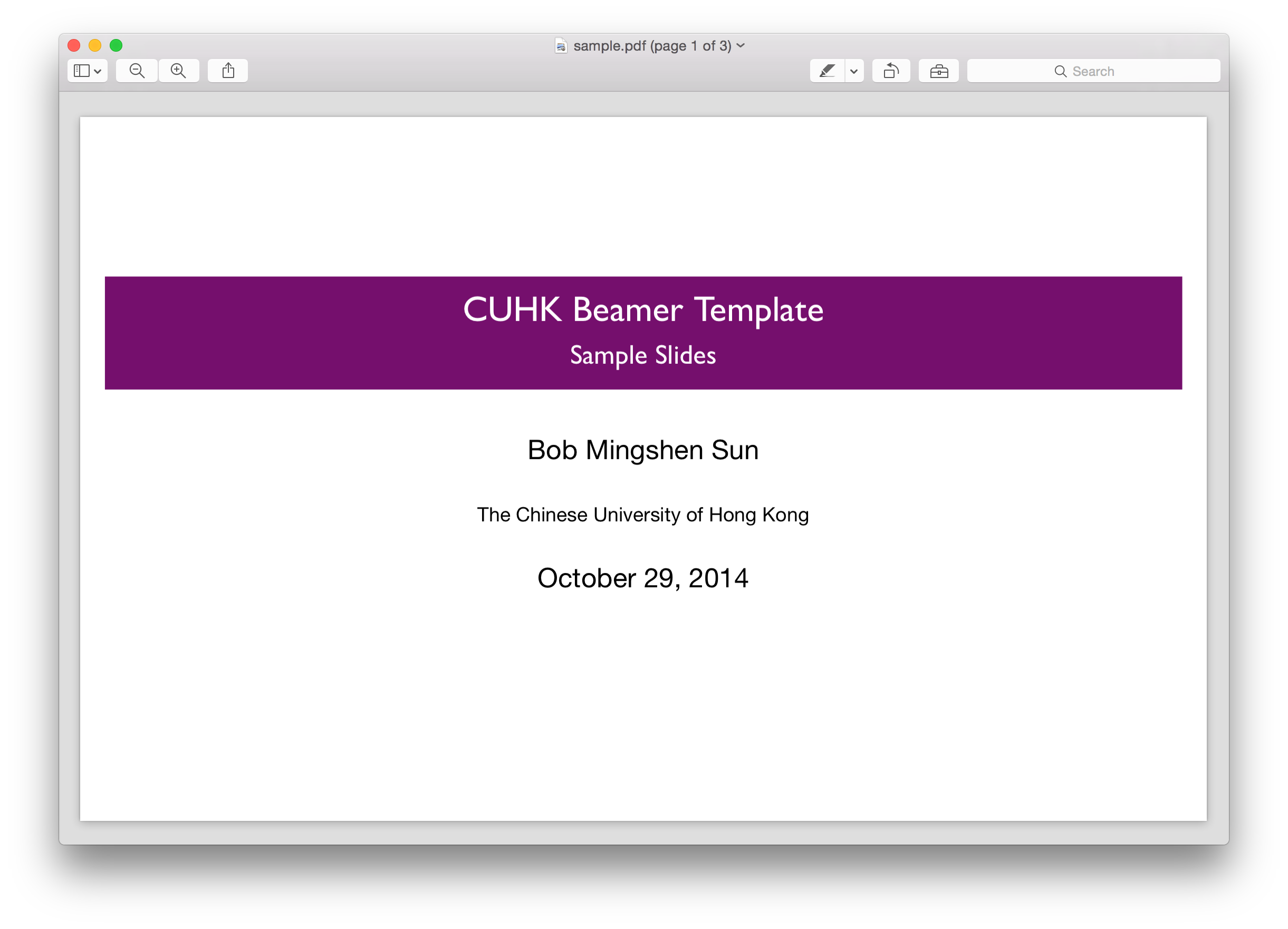 Beamer Template | Github Mssun Cuhk Beamer Beamer Template With Cuhk Colors