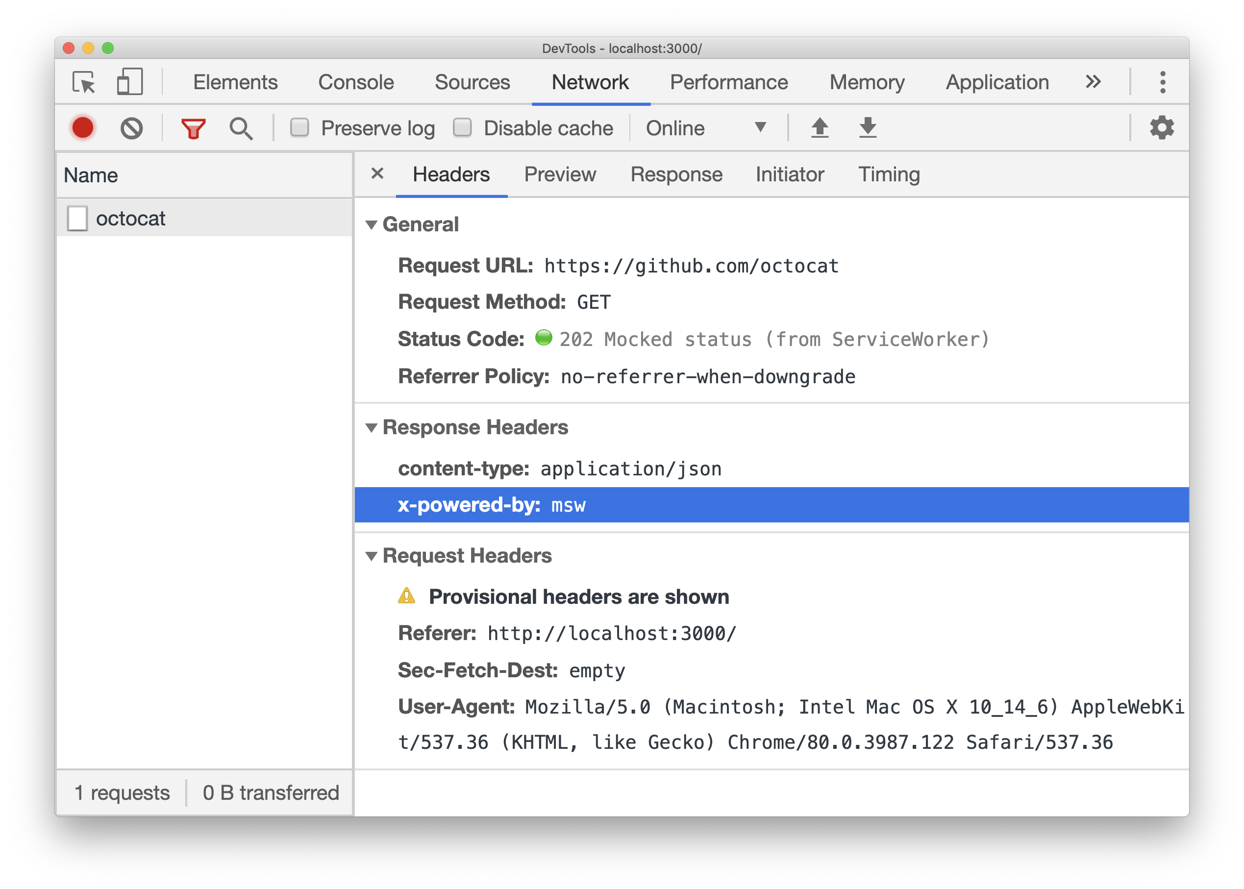 Chrome DevTools Network screenshot with the request mocked