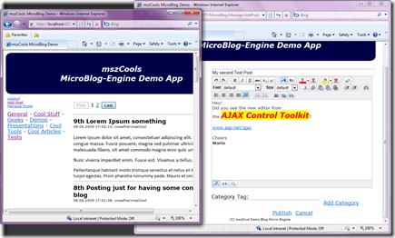 mszCools MicroBlog Demo - Windows Internet Explorer