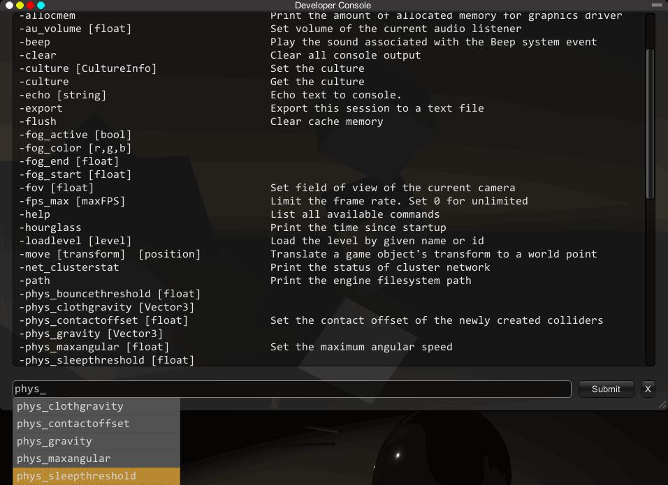 Unity Developer Console - UnityList