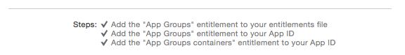 Correct App Group Capabilities