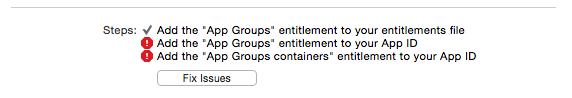 Incorrect App Group Capabilities