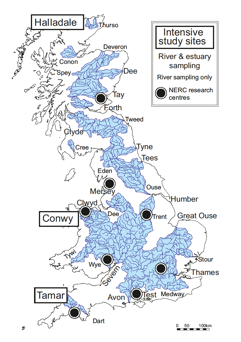 Map of UK river catchments investigated by the LOCATE research programme.