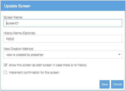 Add or edit screen data