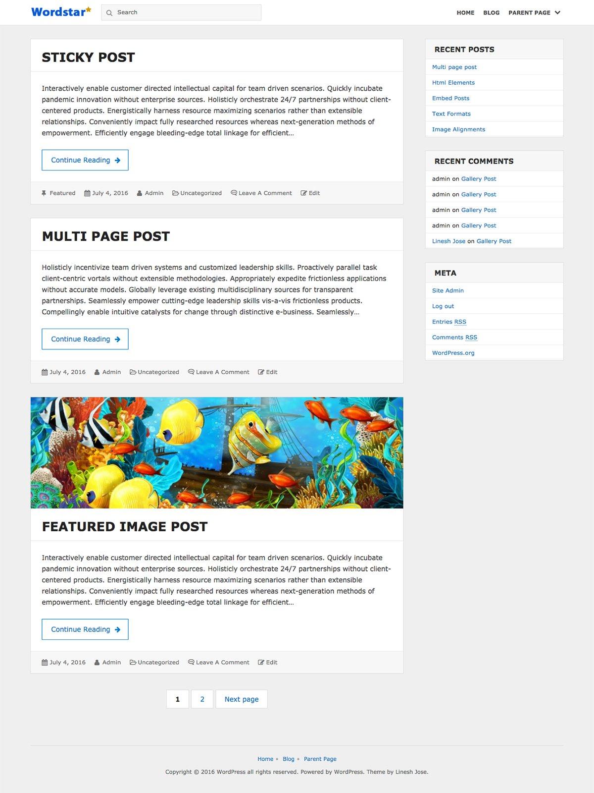 WordPress博客主题推荐(简单直观的wordstar)
