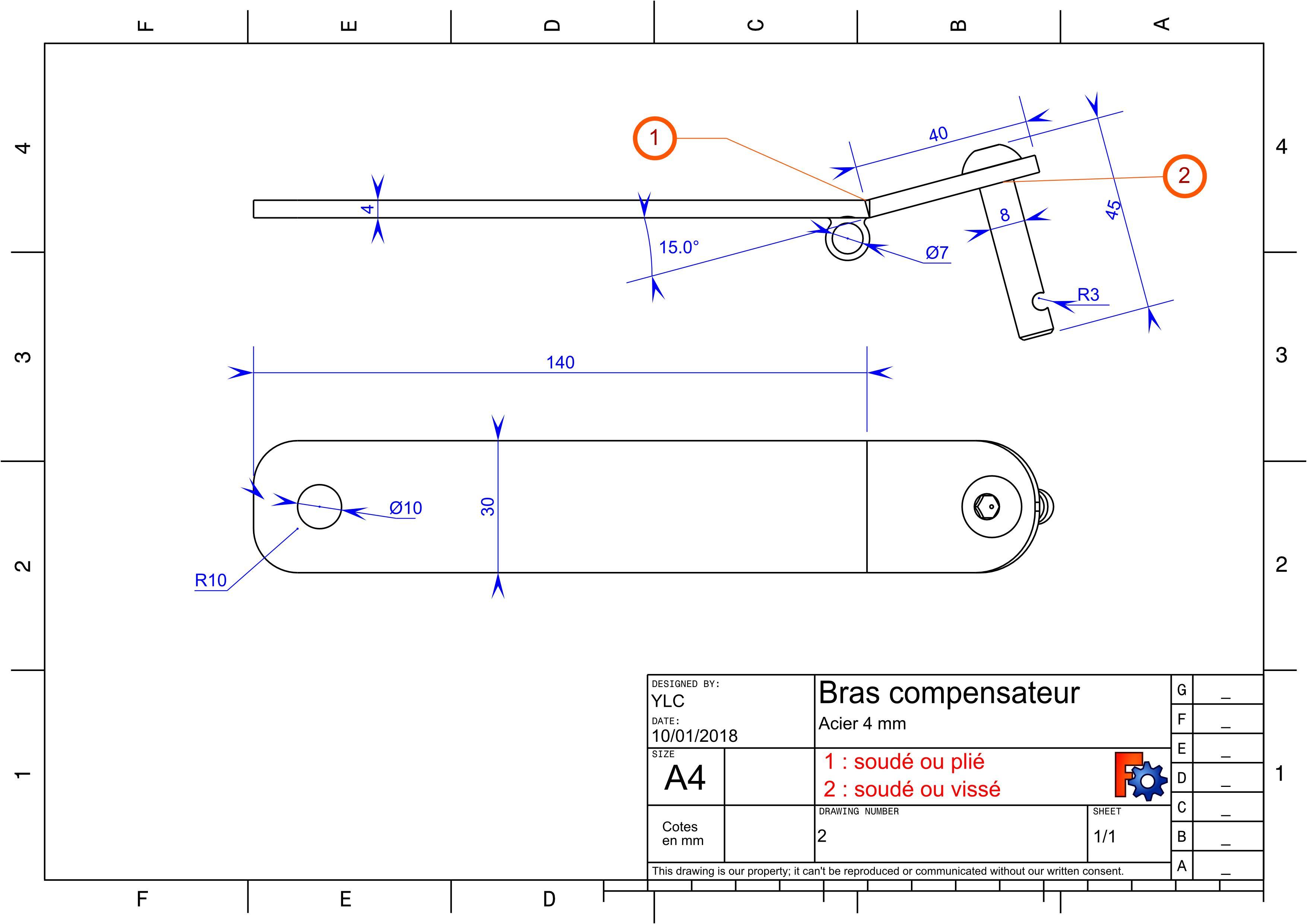 Annexe4 : plan des pieces métal : Bras compensateur