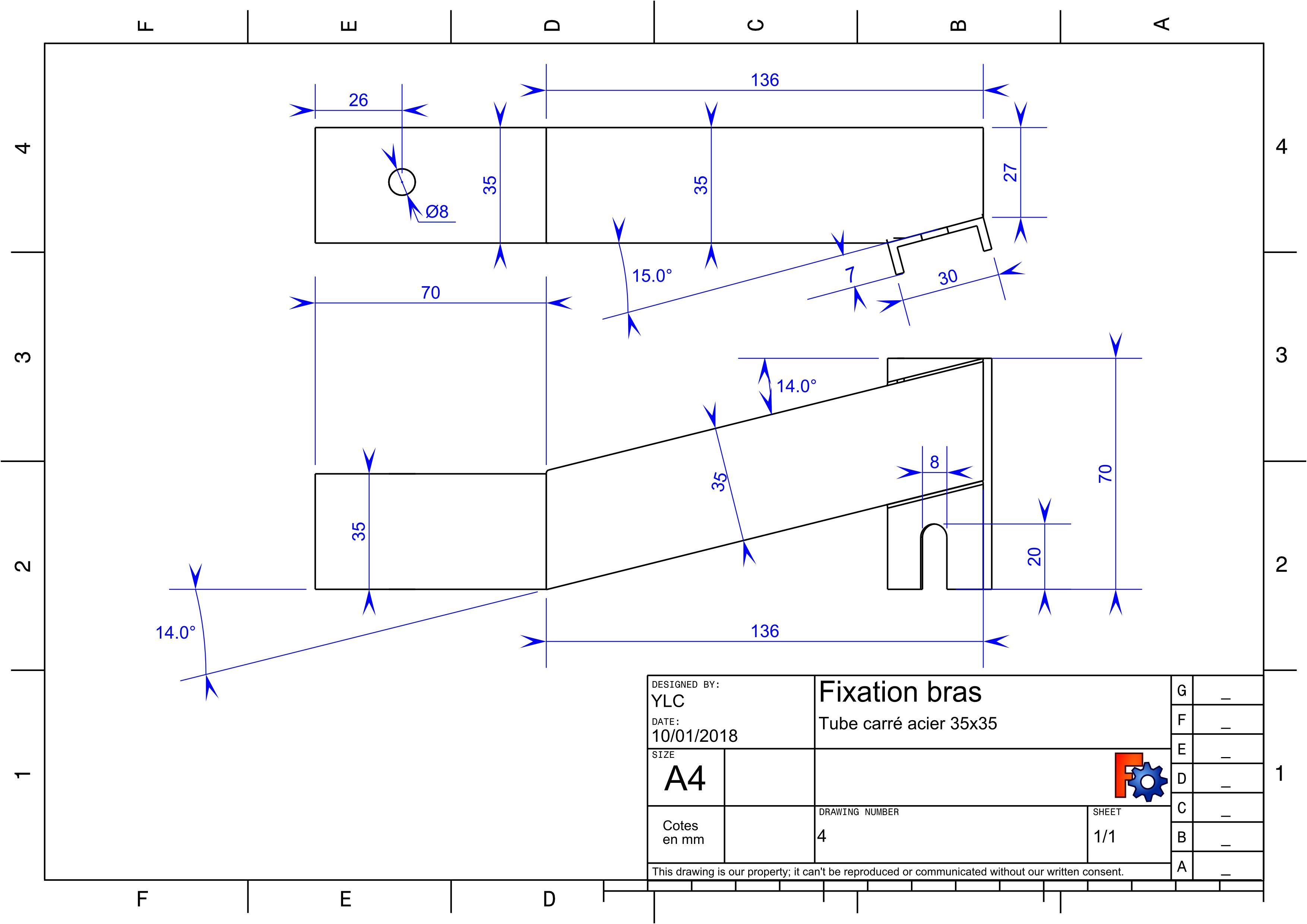 Annexe4 plan des pièces en métal : Fixation du bras assemblée (soudée)