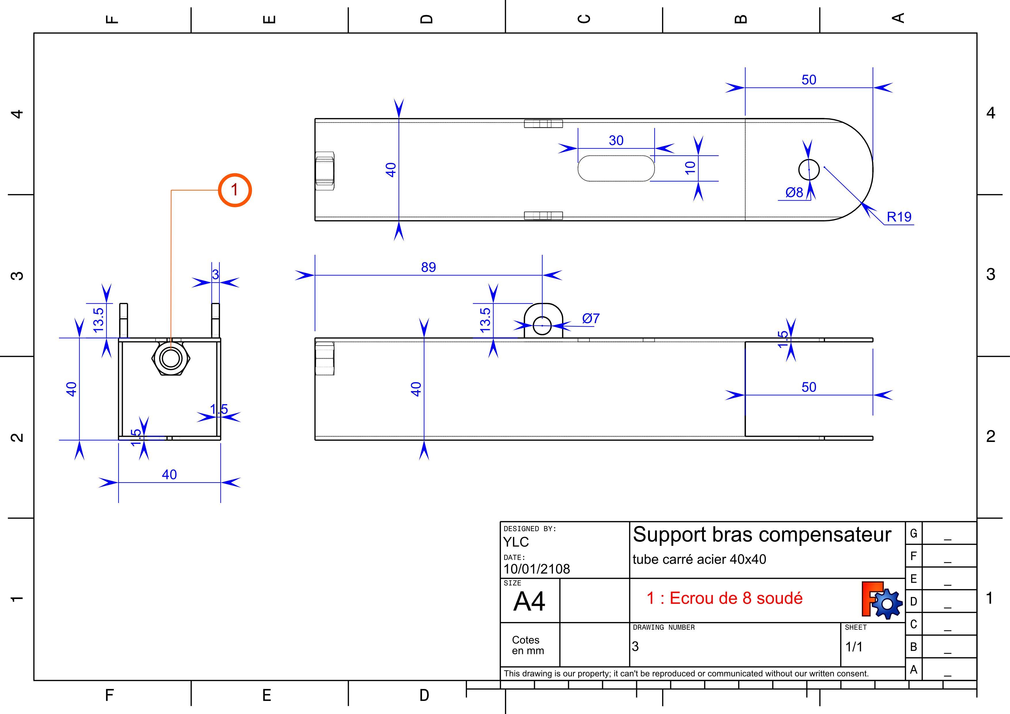 Annexe4 : plan des pieces métal : Support du bras compensateur
