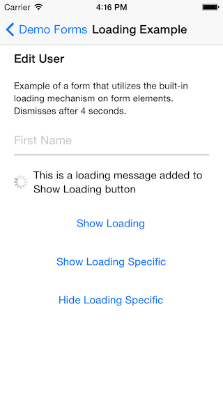 Example of a loading message