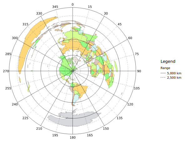 An equidistant azimuthal map of the world.