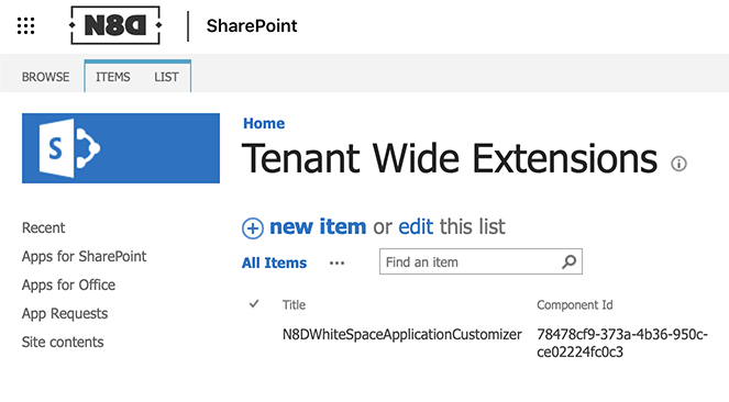 Tenant wide application catalog