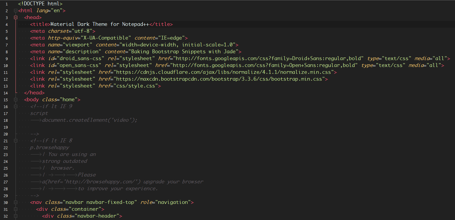 Material Theme Dark for Notepad++