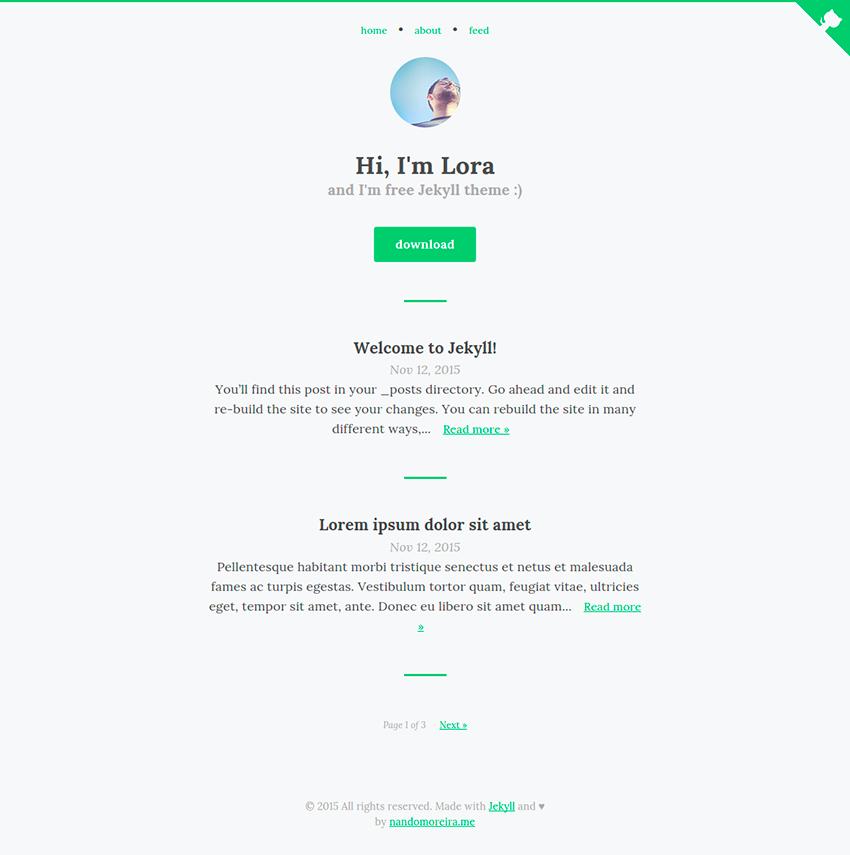 Lora - free Jekyll theme