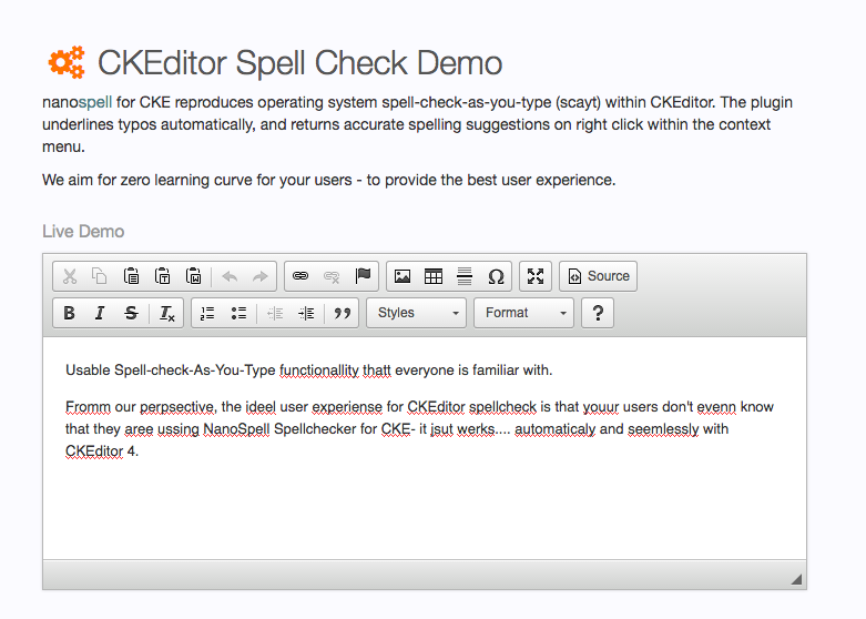 Ckeditor Spell Check Demo full screenshot