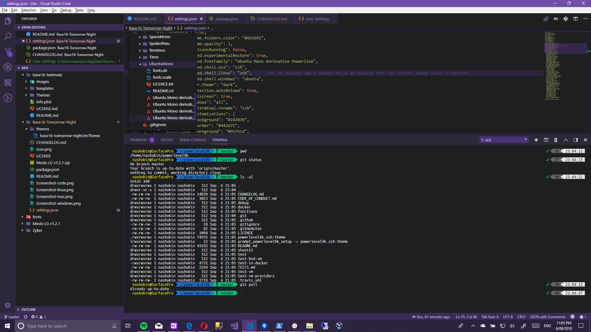 Base16 Visual Studio Code windows