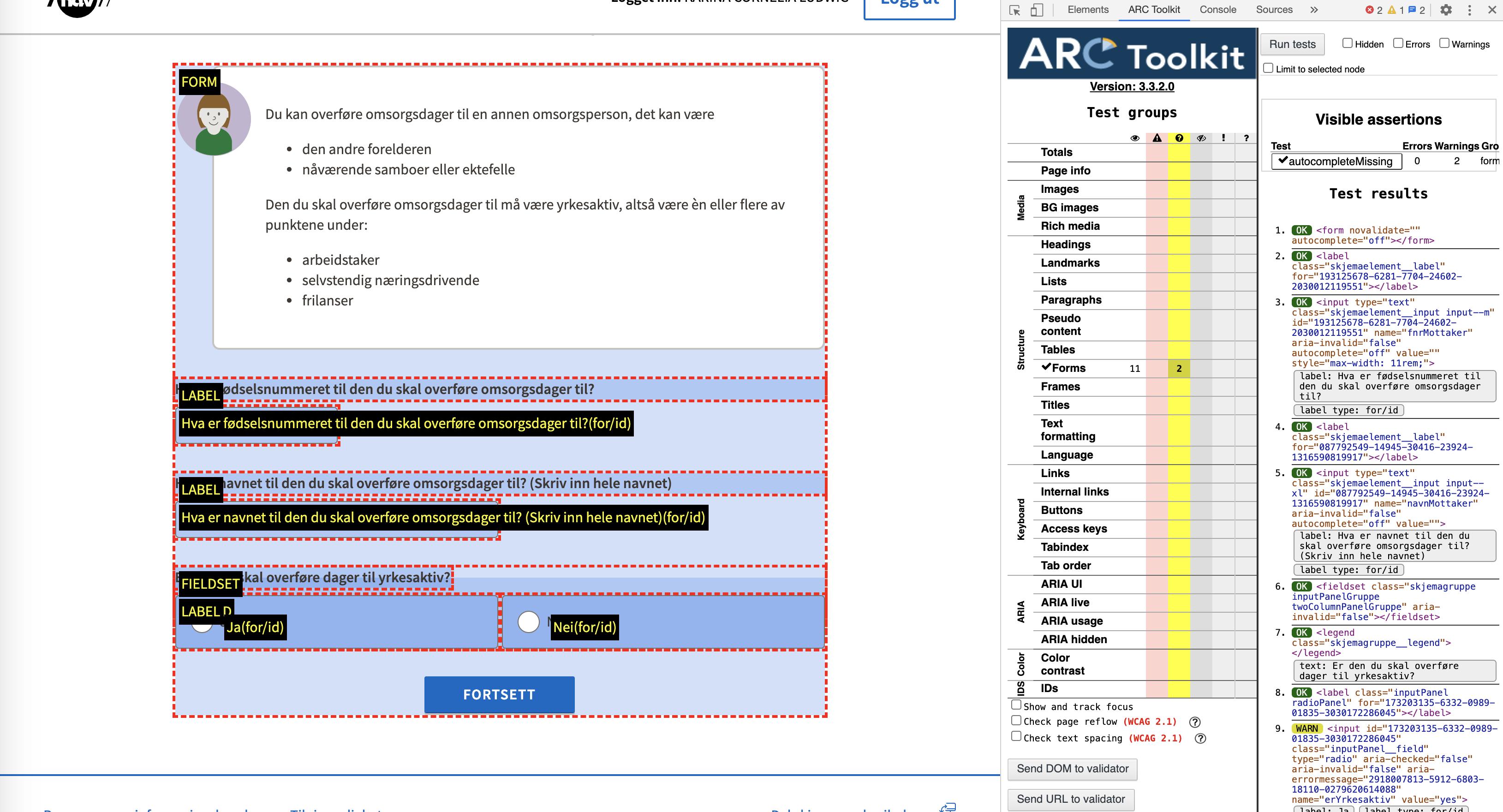 skjemavisning i ARC toolkit