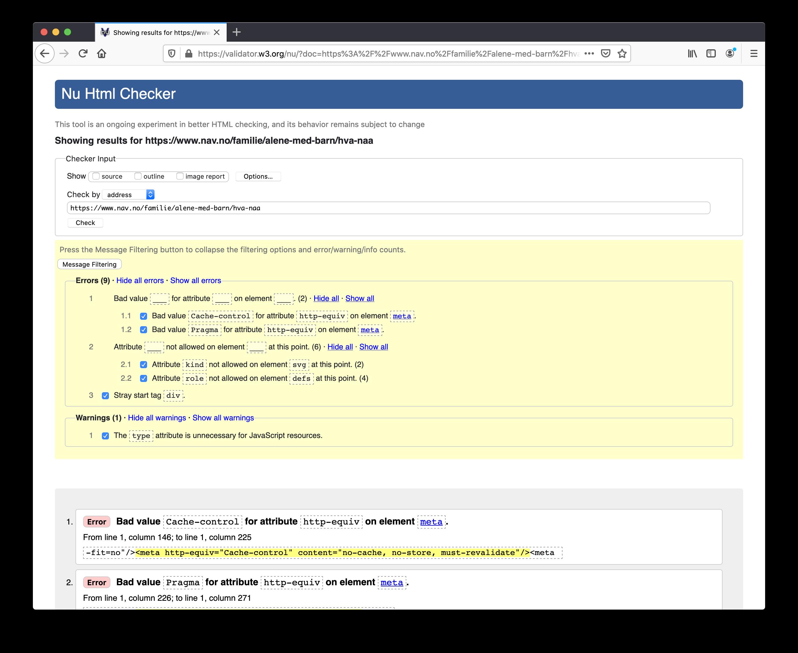 Sjekk av Alene med barn-siden med W3Cs kodevalidator