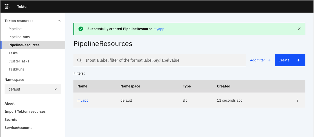 Created PipelineResource screenshot.