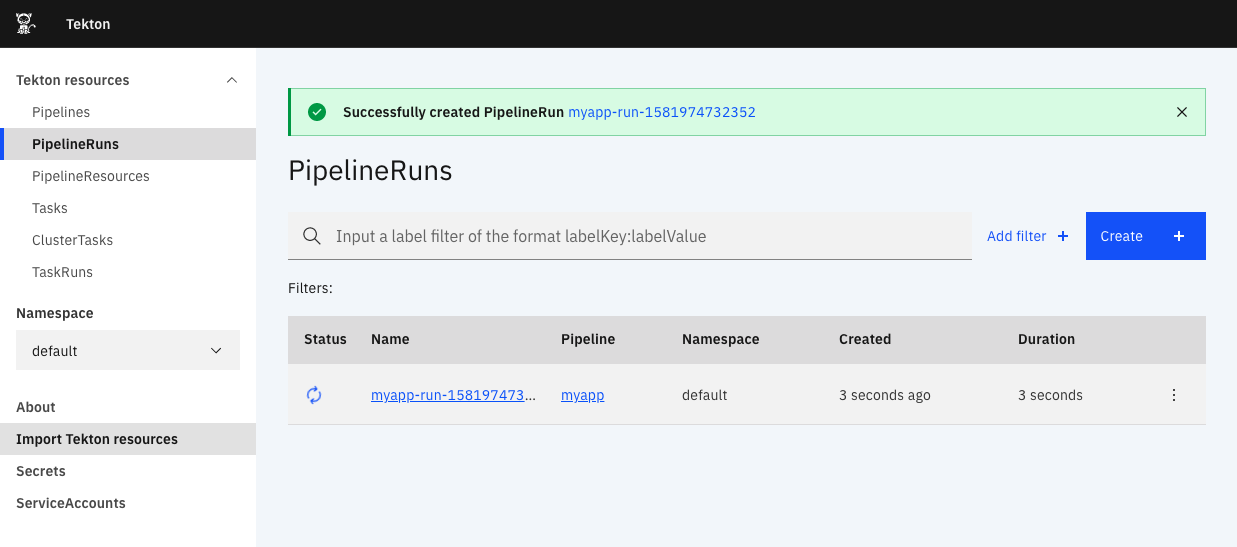 Created PipelineRun screenshot.