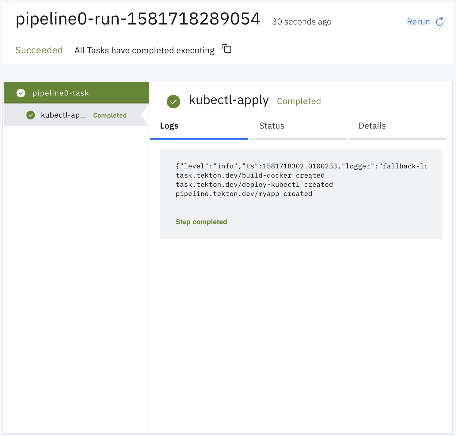 Import Tekton resources PipelineRun logs screenshot.