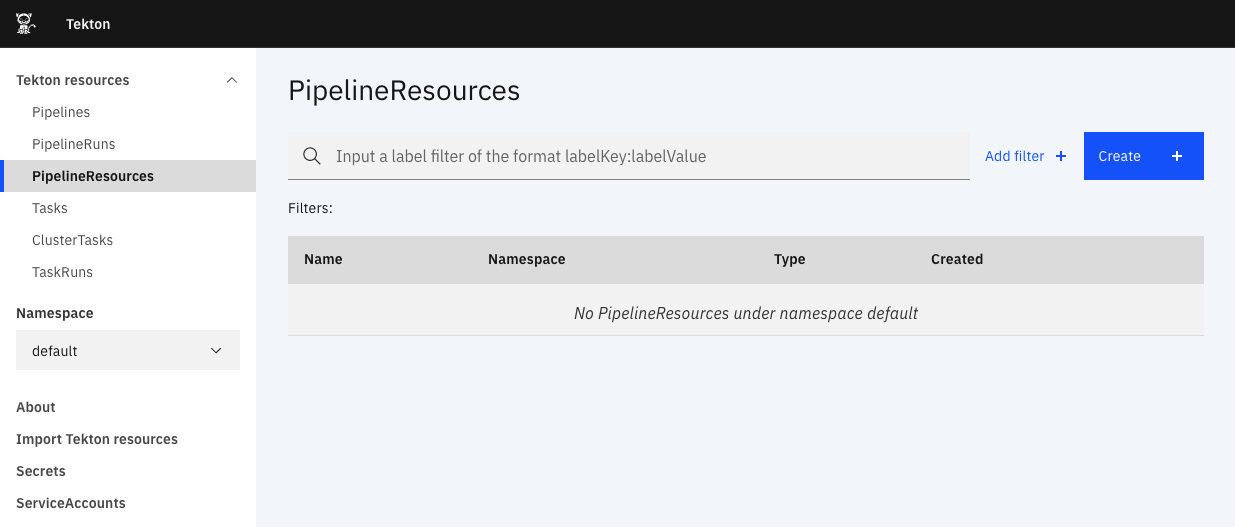 Navigate to PipelineResources page screenshot