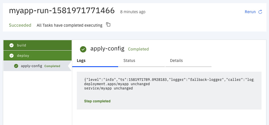 View the completed PipelineRun logs for MyApp screenshot.