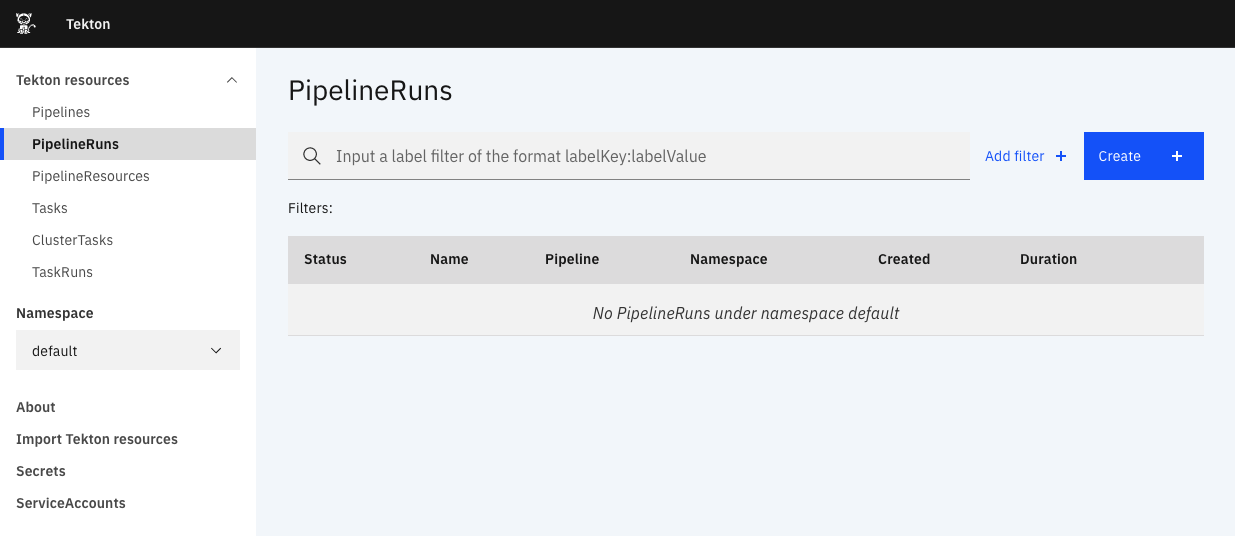 Navigate to PipelineRuns page screenshot