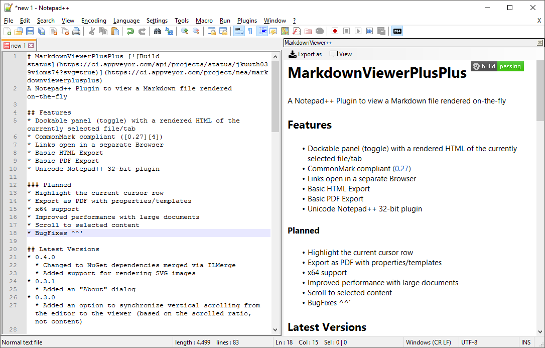 MarkdownViewer++ - A Notepad++ Plugin