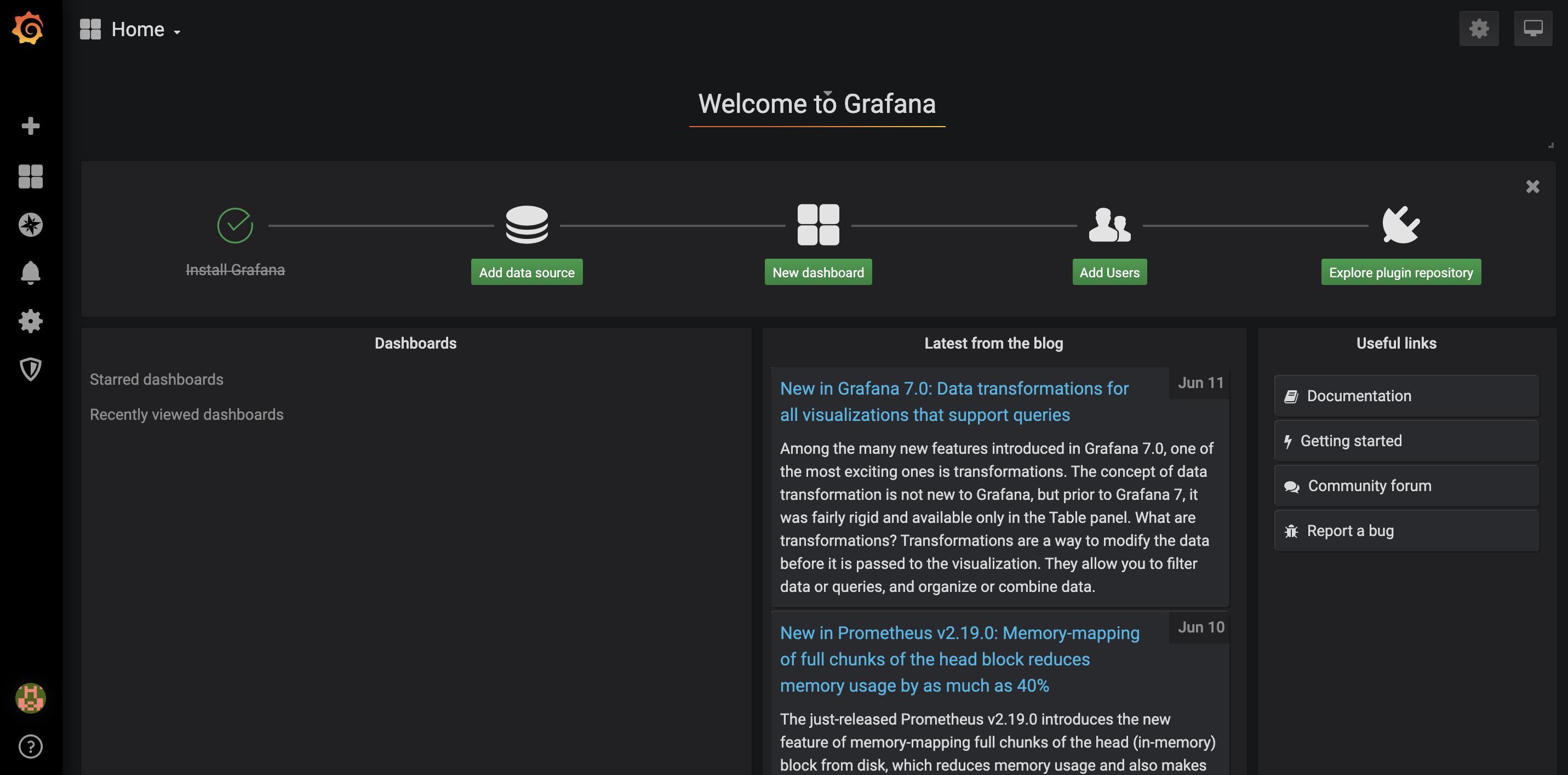 Grafana homepage
