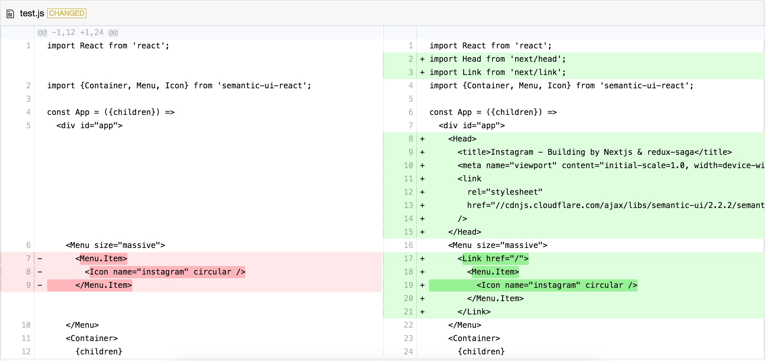RunKit + npm: react-gh-like-diff