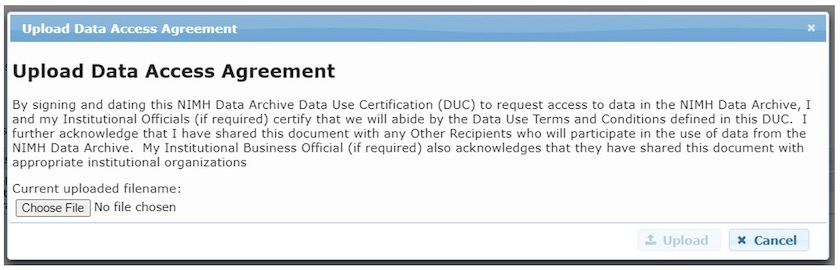 Upload DUC agreement