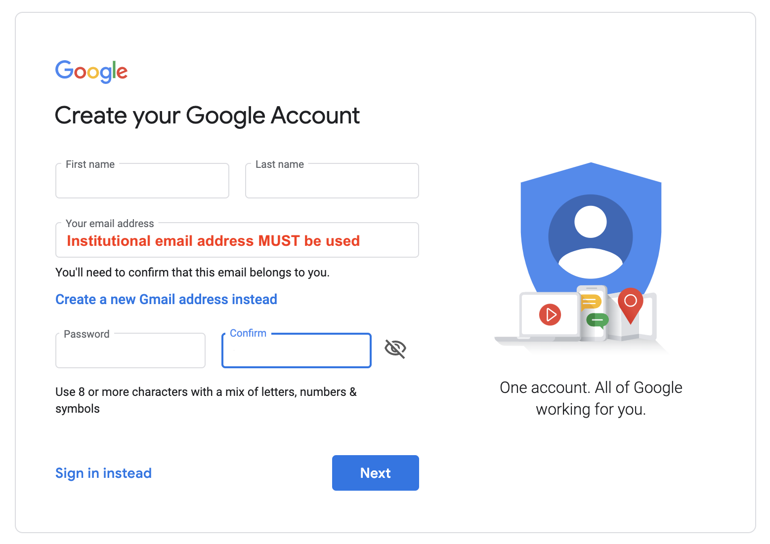 google account institutional email
