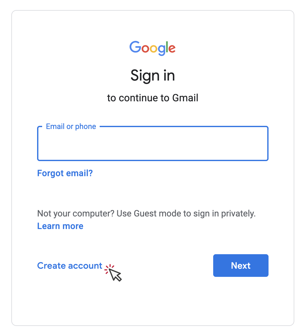 google new user account set up