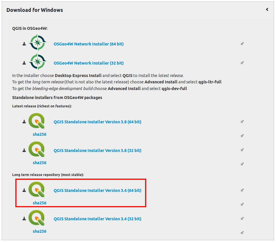 Download qgis windows
