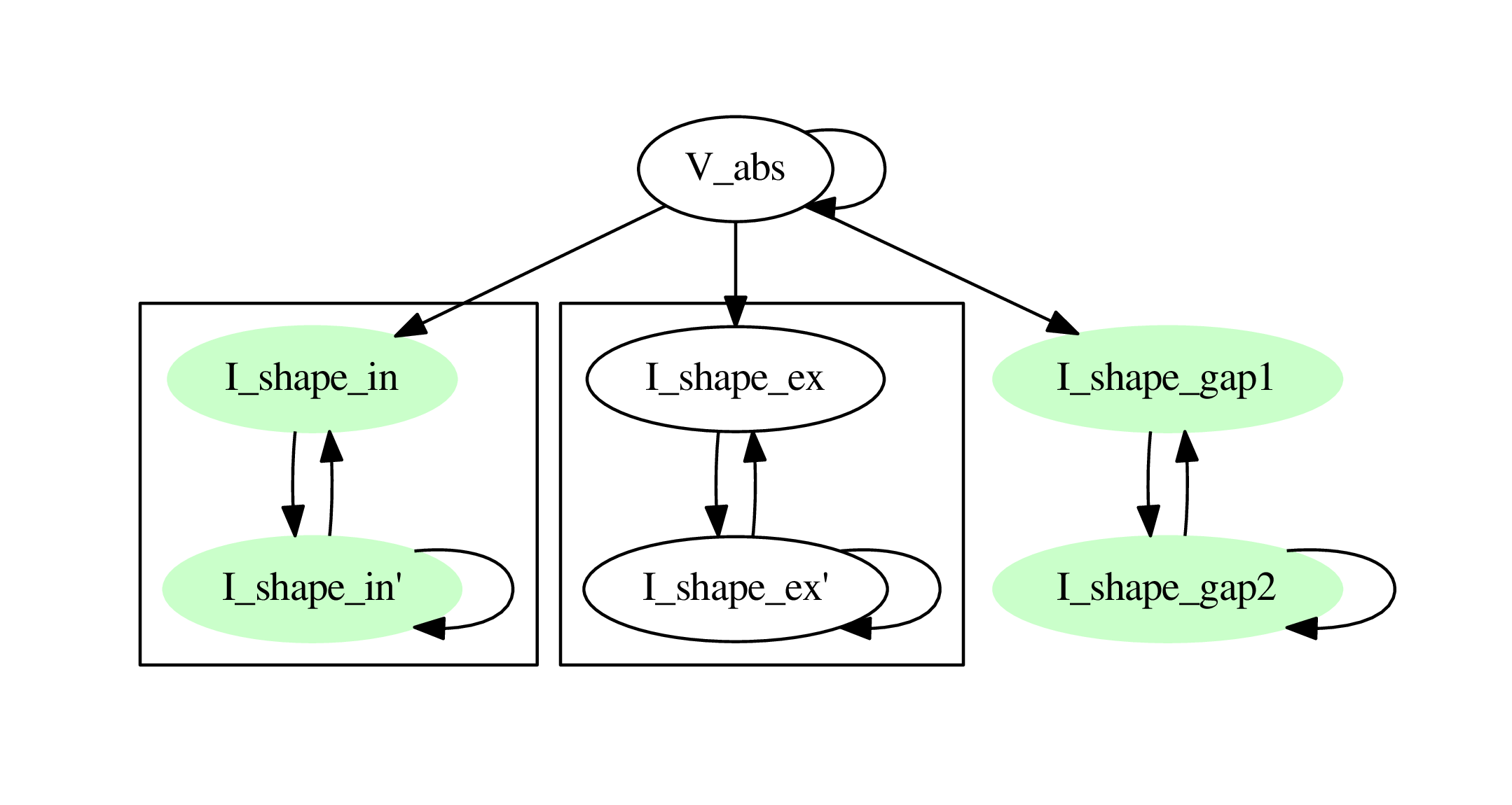 Dependency graph with membrane potential and excitatory and gap junction kernels marked green