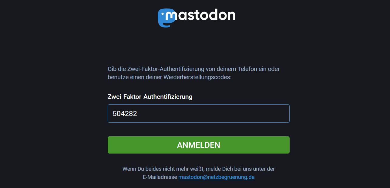Screenshot Tokenabfrage