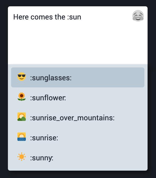 Emoji-Eingabe mit Autovervollständigung