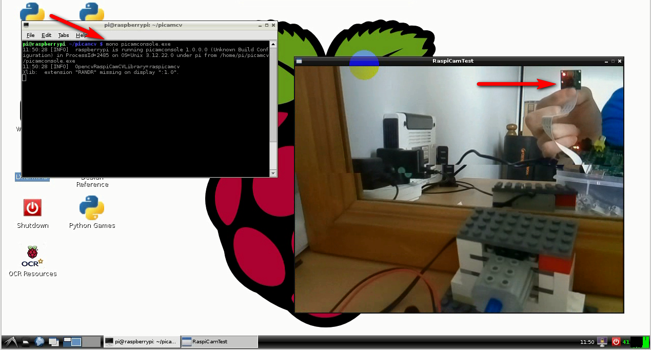Mono using OpenCV with the Pi Camera module