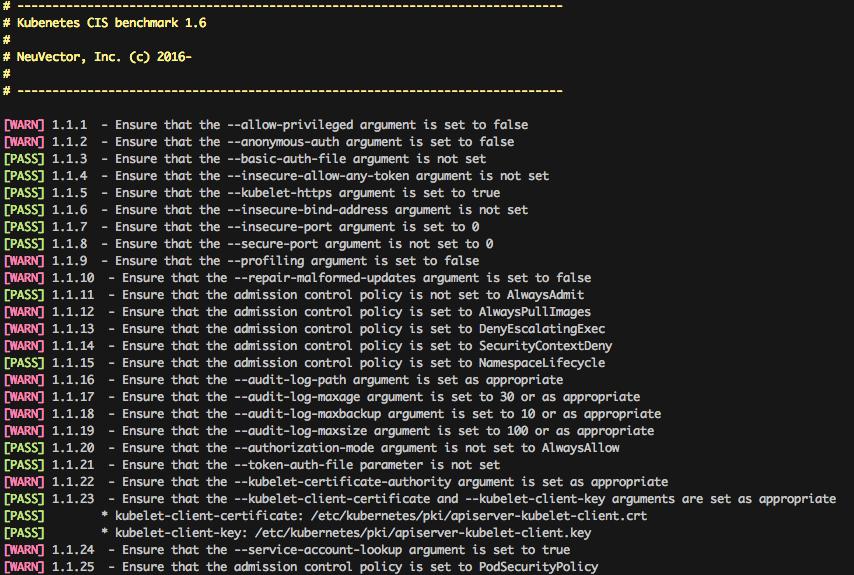 CIS Kubernetes Benchmark output