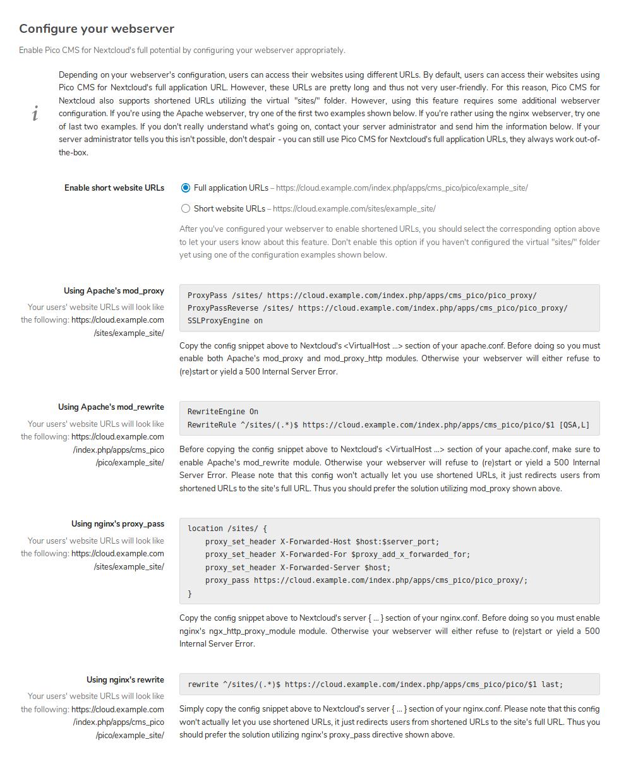Webserver config