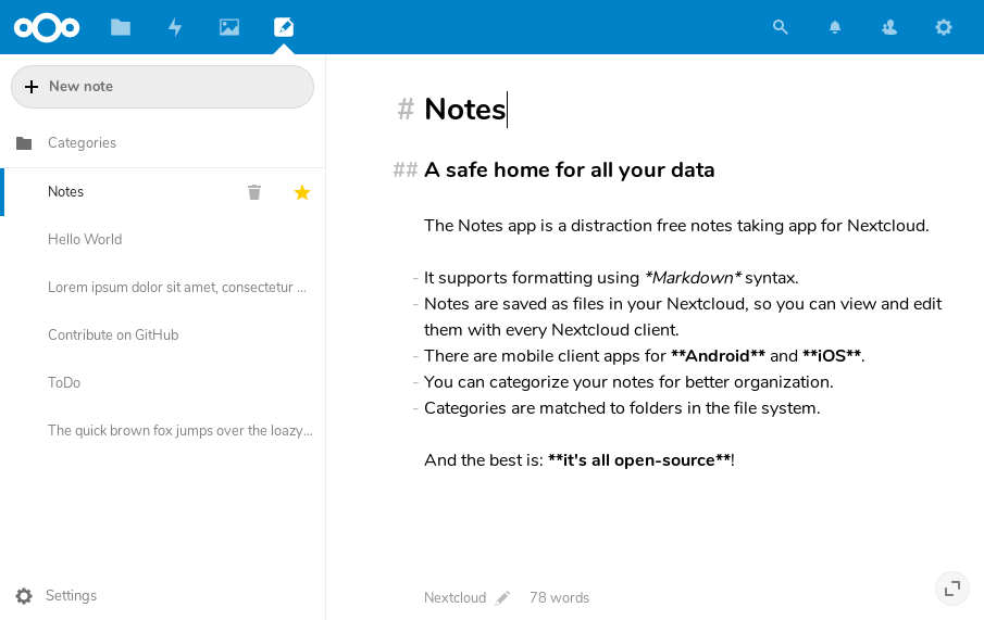 Screenshot of Nextcloud Notes