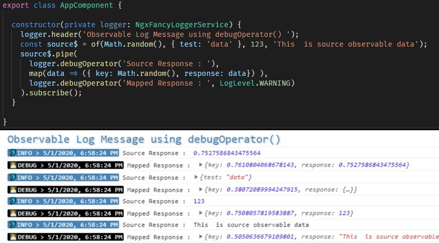 Debug RxJS Observable Stream using debugOperator() operator function
