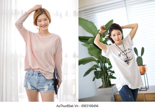 Thời trang cùng áo phông trơn tay cọc cổ tròn