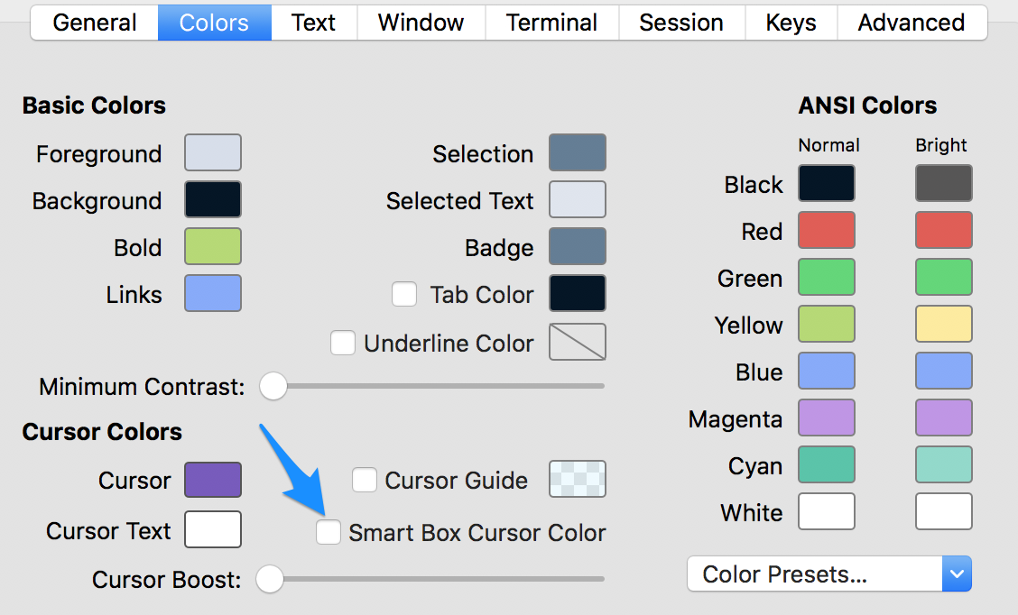 iTerm color settings showing smart box cursor color unticked