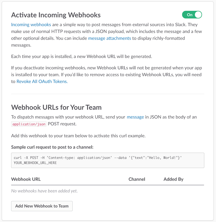 Enable incoming webhooks
