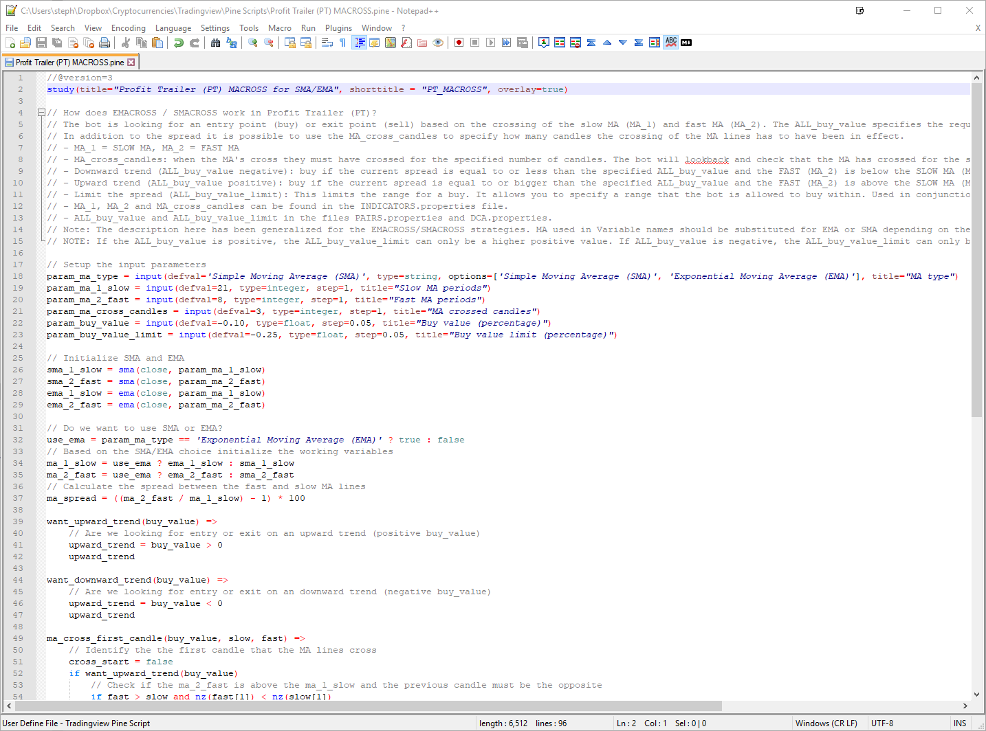 Notepad++ with Tradingview Pine Script file with syntax highlighting