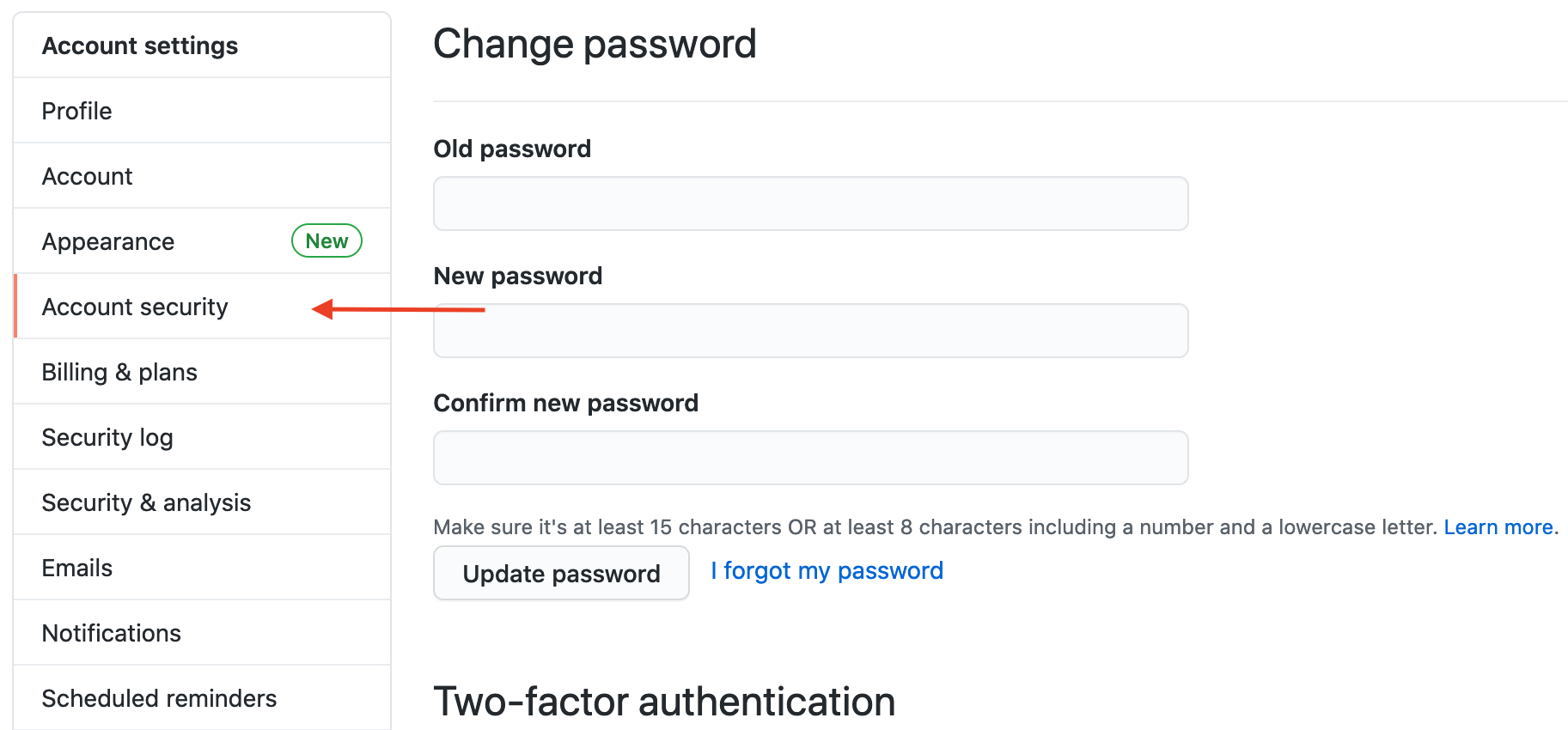 account security tab