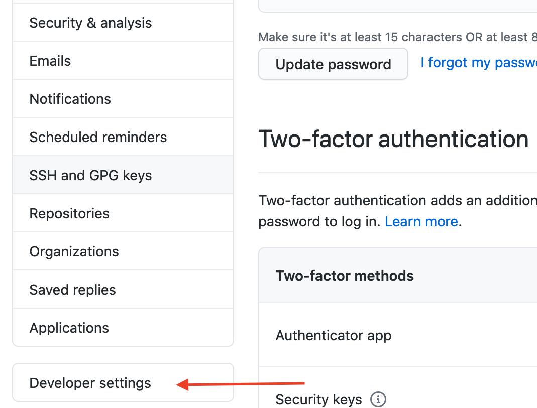 developer settings tab